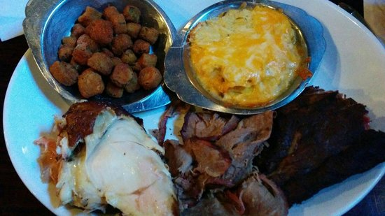 Smoke On The Water : Bbq triple combo...  Beer butt chicken, bbq ribs, beef brisket.  Sides : fried okra, squash cass