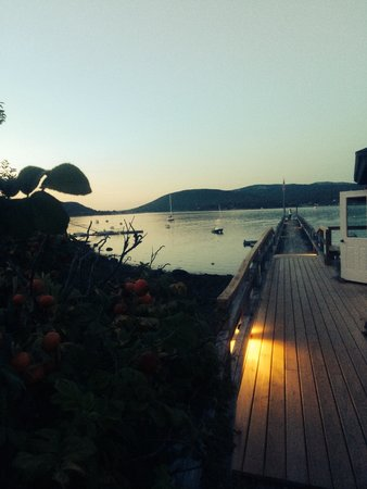 The Claremont Hotel: The dock at sunset