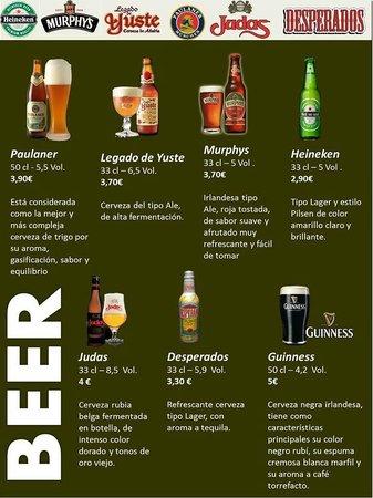 Club de dardos Damados: Carta de Cervezas