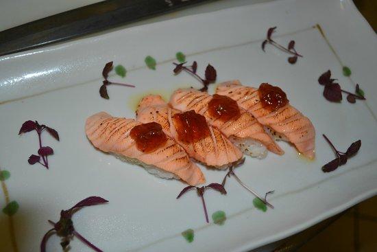 Yuzu Restaurant - West Hampstead: Yuzu weekly specials. Seard Salmon with soy jelly..