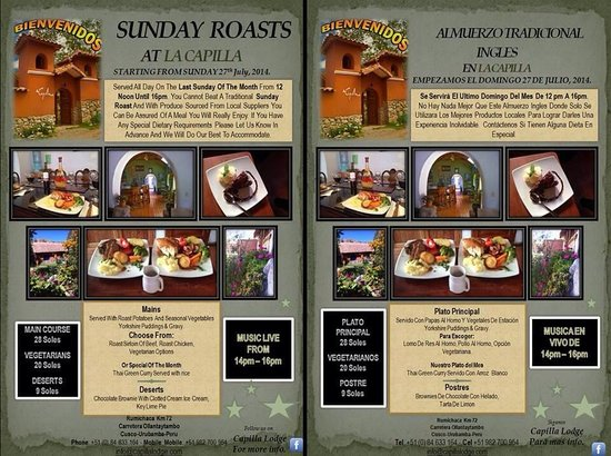 La Capilla Lodge: Traditional Sunday Roast at La Capilla - Every last Sunday of the month - see you soon - Reserva