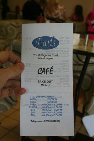 Earls Café: Take away menu cover.