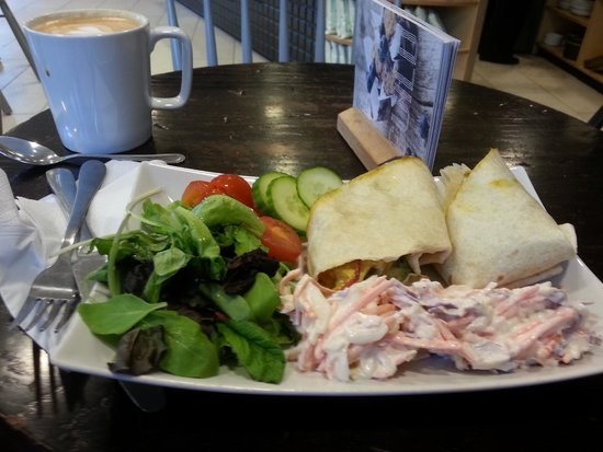 Cafe Guild: Coronation chicken wrap and latte