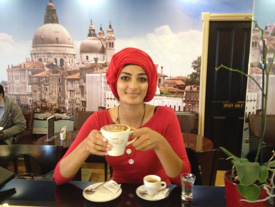 Caffe Venecia Ltd: Henna tries the first beverage named the Trialto created at Caffe Venecia in Huddersfield