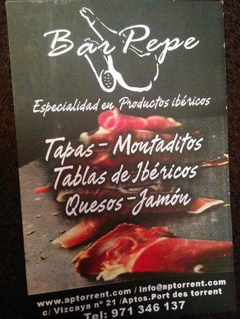 Bar Pepe: tarjeta del Bar Pepe