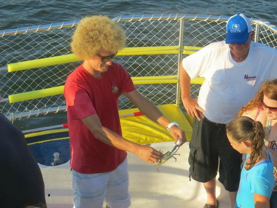 The Fun Boats Dolphin Cruises: Deck Hand Nolan showing the blue crab.