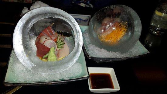 Shoya: Sushi/sashimi in ice ball.