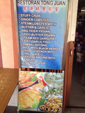Restoran Tong Juan: The restaurant outside menu