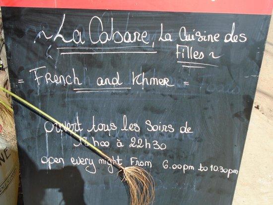 La Cabane, La Cuisine des Filles : board