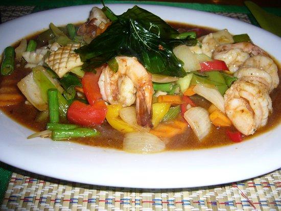 Green Papaya: gebakken garnalen en inktvis