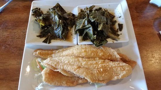 Felix's BBQ With Soul: Catfish and double Collard Greens