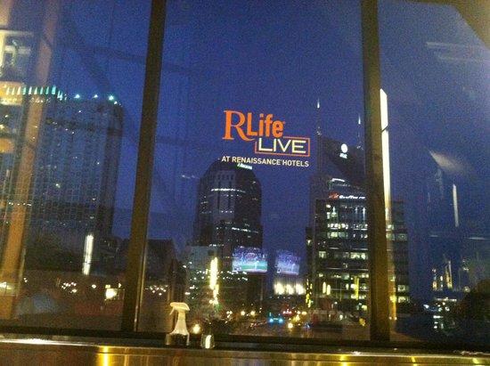 "Renaissance Nashville Hotel: View from the ""Bridge"" at night"