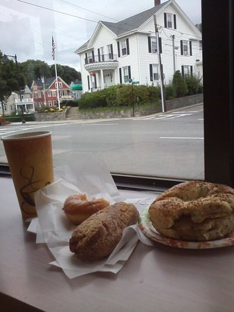Anna's Hand Cut Donuts: Egg and bacon bagel, donuts and great coffee