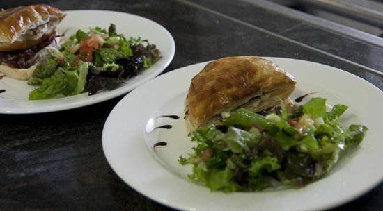 Stables Kitchen: Warm Inverloch goat's cheese puff pastry tart with fresh green salad