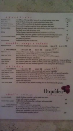 Orquidea Thai Restaurant: menu-side one