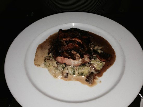 Jean Farris Winery & Bistro: Grilled pork loin with Brussels sprouts