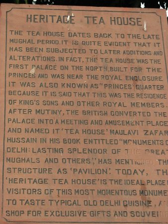 Red Fort: A plaque providing information about the tea house