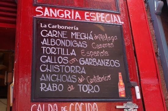 La Carboneria: specials board