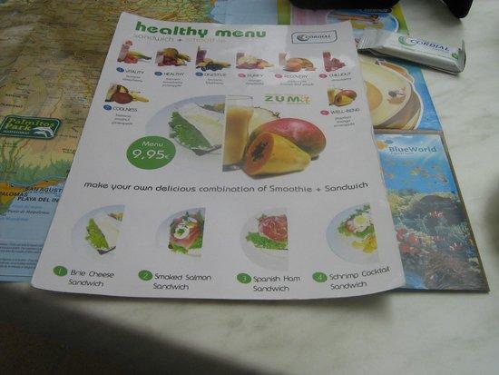 Hotel Cordial Mogan Playa: Healthy lunch menu