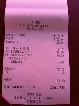 The Shed : The bill!