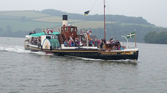 Dartmouth Steam Railway And River Boat Company Paddleboat Steamer Passing By Us