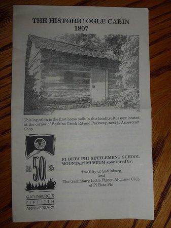 Brochure from Historic Ogle Log Cabin
