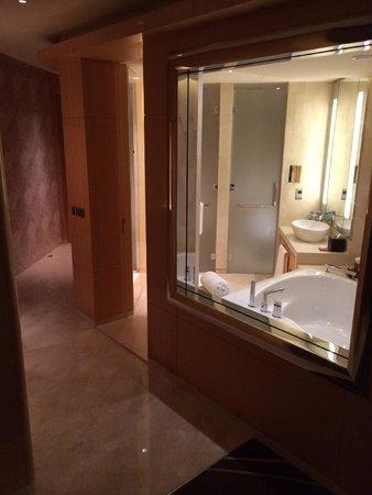 The Meydan Hotel: entrance corridor and bathroom