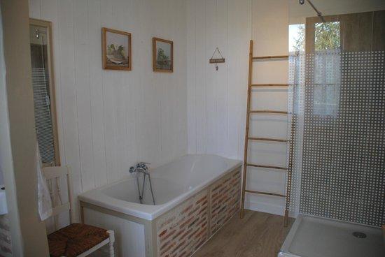 Les Chambres de la Loge: douche et baignoire