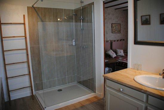 Les Chambres de la Loge: salle de bain rénovée de Charmoise cet hiver
