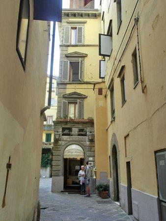 Albergo Firenze : View from the main street looking towards the front door