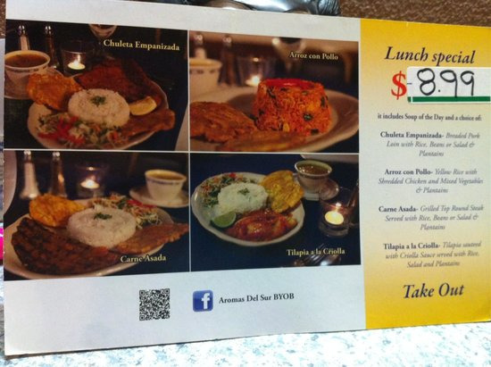 Aromas Del Sur: Lunch special Tuesday  to Friday 11:00 am to 3:00 pm
