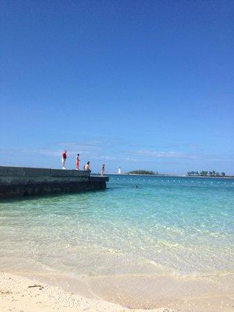 Fat Tuesday Nassau Bahamas: Public beach on property