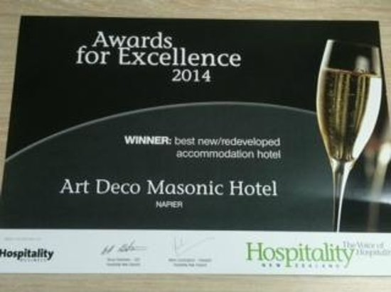 Art Deco Masonic Hotel: AWARD FOR EXCELLENCE - BEST NEW/REDEVELOPED ACCOMMODATION HOTEL!