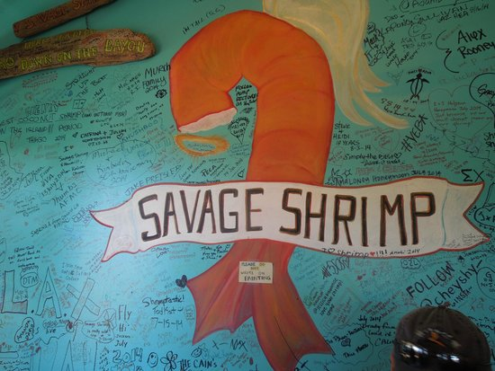 Savage Shrimp: On the wall - - you can sign your name and date