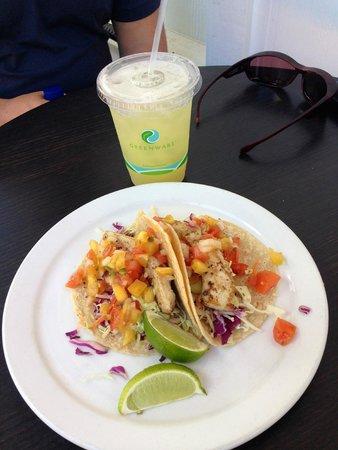Living Foods Gourmet Market and Cafe : Fresh Fish Tacos & Pineapple Aqua Fresca