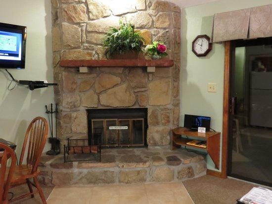 Tree Tops Resort : Living room fireplace