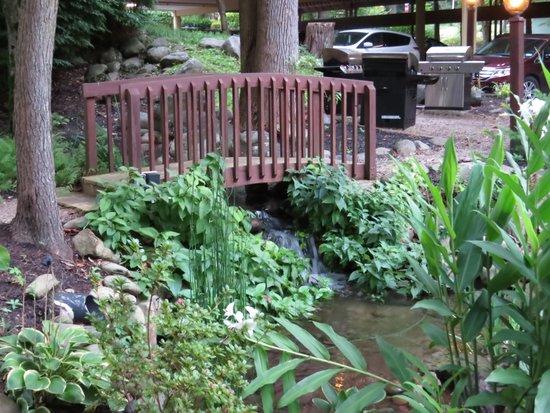 Tree Tops Resort: Building 6 overlooks lovely garden with running water