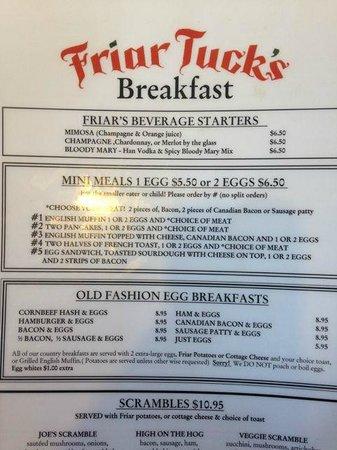 Friar Tuck's Restaurant: Menu