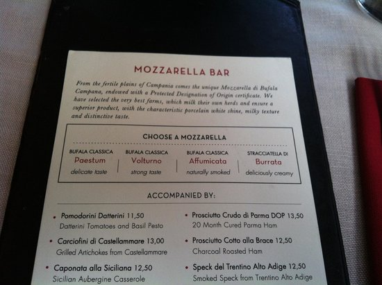 Obica Mozzarella Bar: Меню