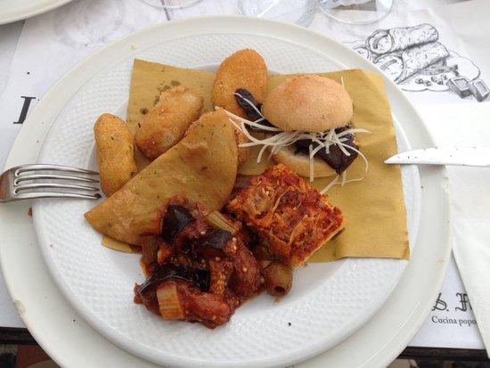 Antica Focacceria San Francesco: Piatto misto di assaggi