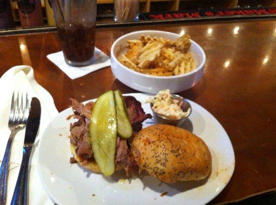 Slows Bar BQ: Pulled Pork w/side of slaw and waffle fries