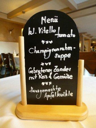 Hotel Restaurant Zum froehlichen Landmann : Menu Nachtssen