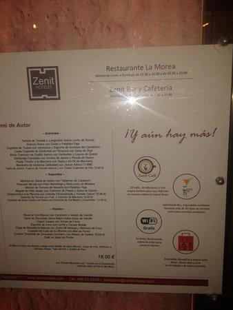 Hotel Zenit Pamplona: LA CARTA