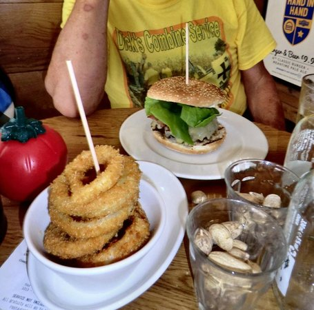 Gourmet Burger Kitchen : Deluxe Burger with onion rings.