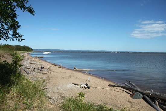 Park Point Nature Trail: Looking toward Duluth while standing on the point at the Superior Entry Canal