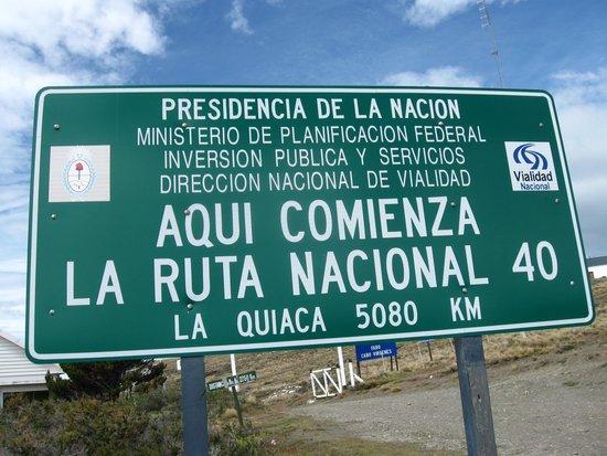 Cabo Vírgenes: Inicio de la Ruta 40