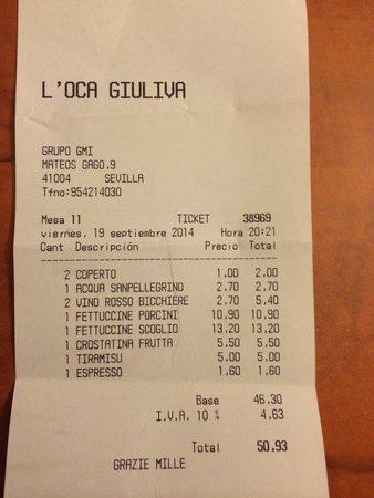 Osteria L'Oca Giuliva: My bill.