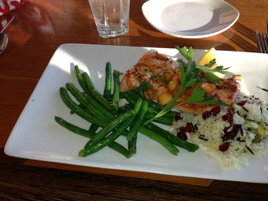Anthony's Hearthfire Grill ~ Squalicum Harbor: A salmon fillet served with a delicious mango sauce over rice