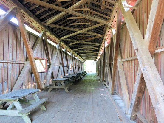 Indiana: Covered Bridge with picnic tables