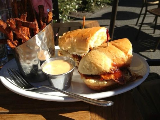 Greg's Grill: Pulled Pork BBQ sandwich and sweet potato fries